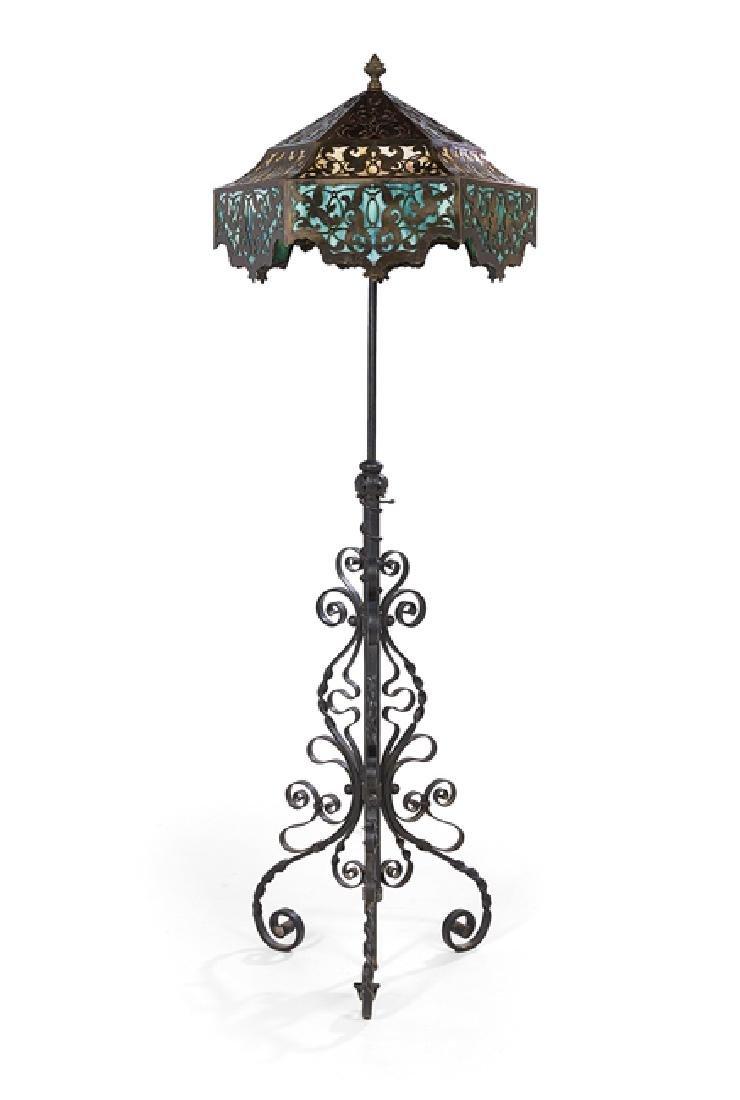 Iron and Brass Overlay Slag Glass Floor Lamp - 2
