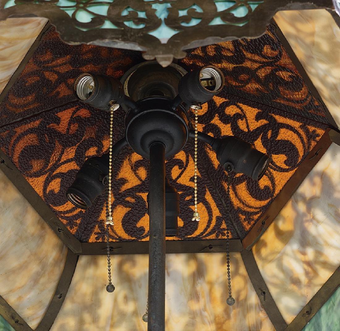 Iron and Brass Overlay Slag Glass Floor Lamp - 3