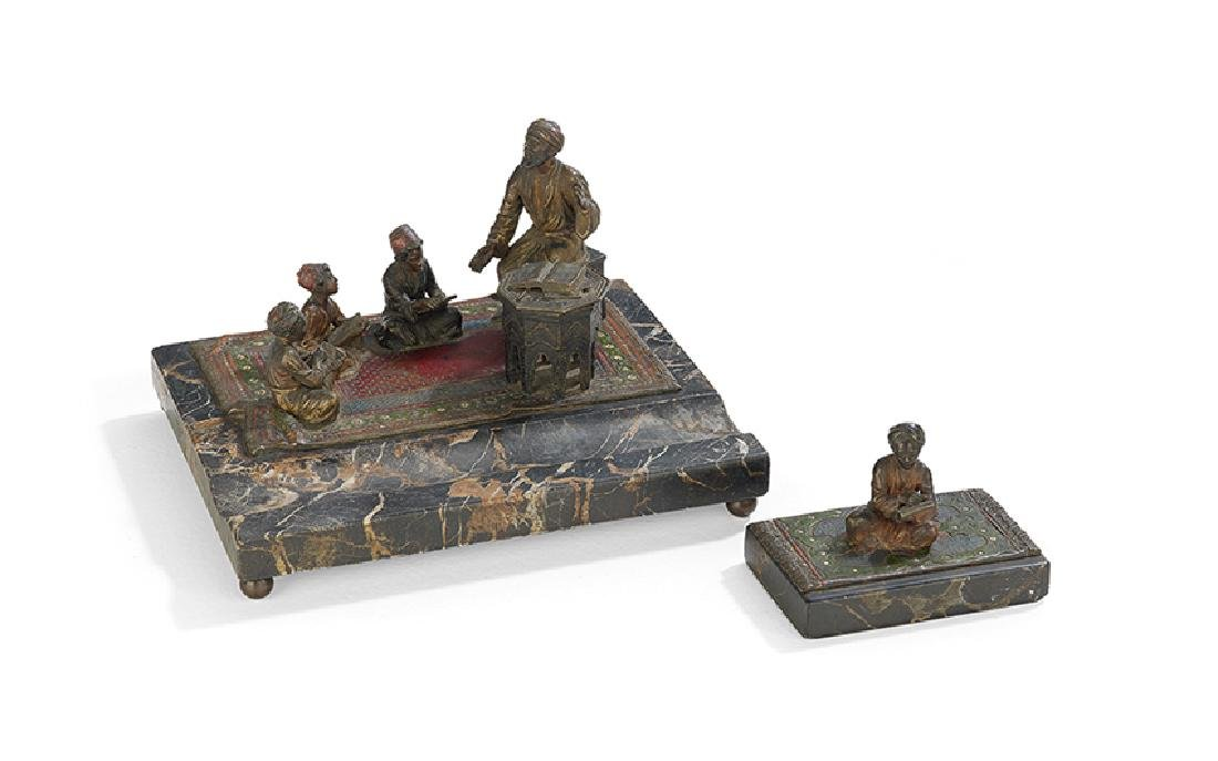 Cold-Painted Bronze and Marble Figural Desk Set
