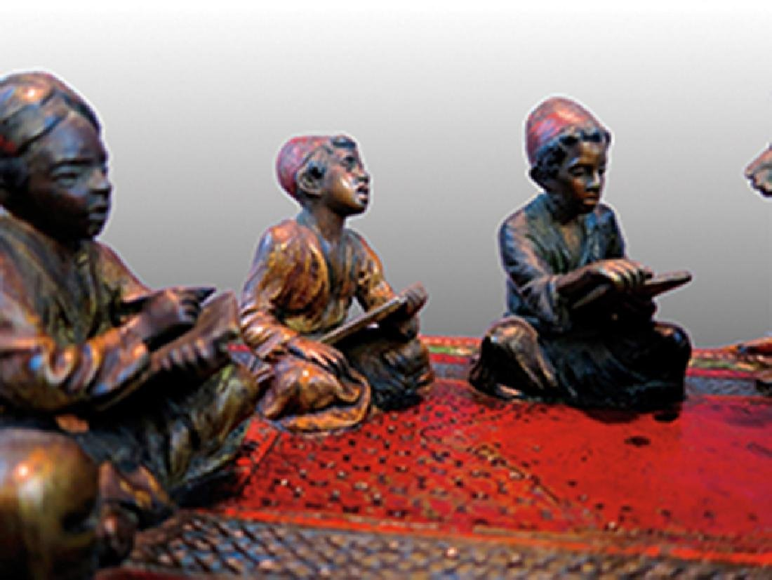 Cold-Painted Bronze and Marble Figural Desk Set - 2