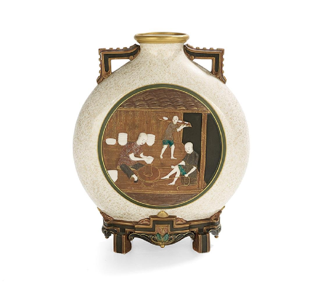Exceptional Worcester Aesthetic Moon Flask