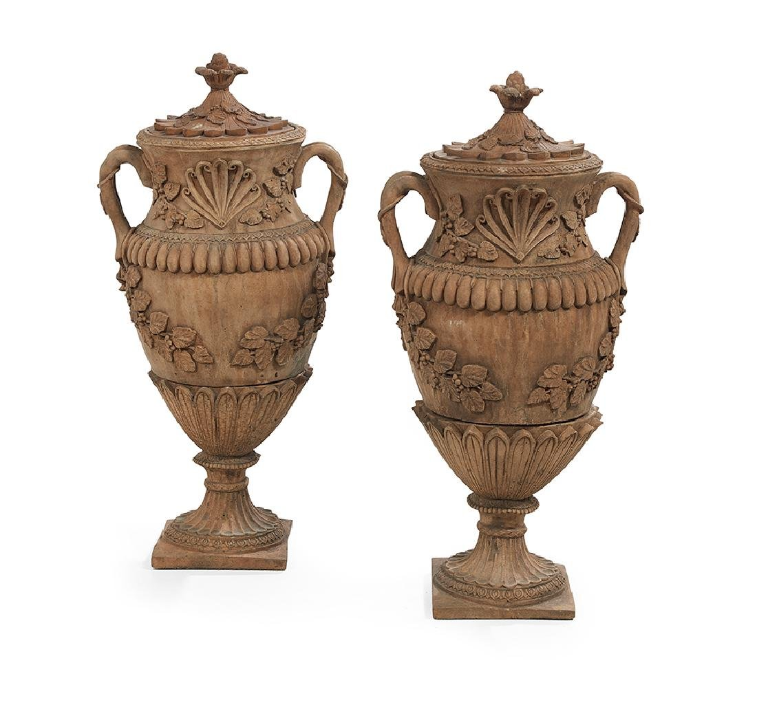 Pair of Terracotta Covered Urns