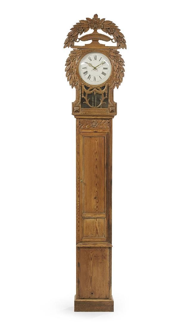 French Provincial Carved Pine Longcase Clock