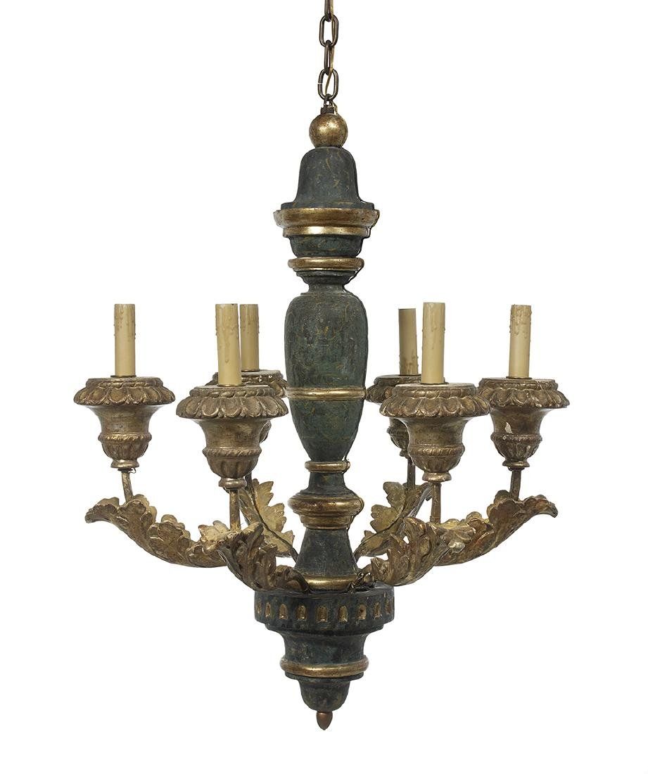 Painted and Parcel-Gilt Chandelier