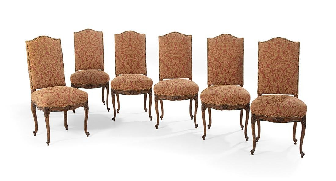 Six Provincial Louis XV-Style Oak Dining Chairs