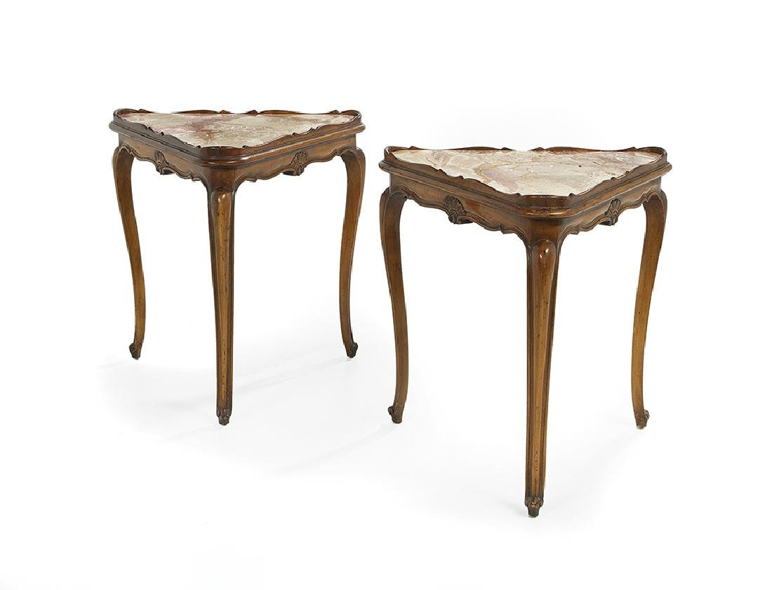Pair of Marble-Top Occasional Tables