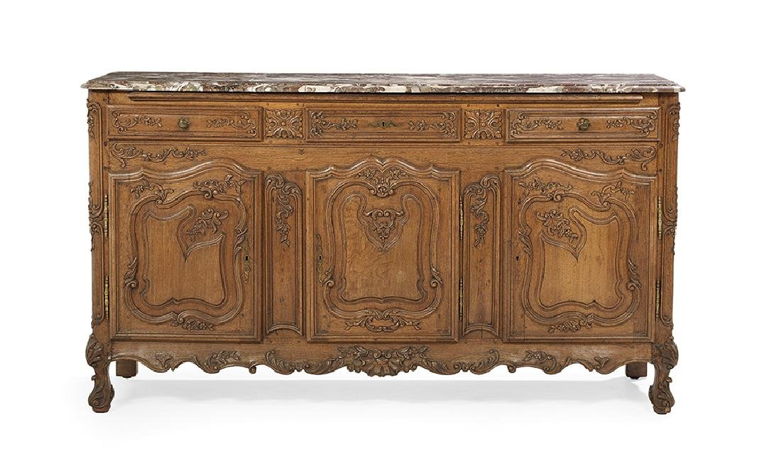 Provincial Louis XV-Style Marble-Top Buffet