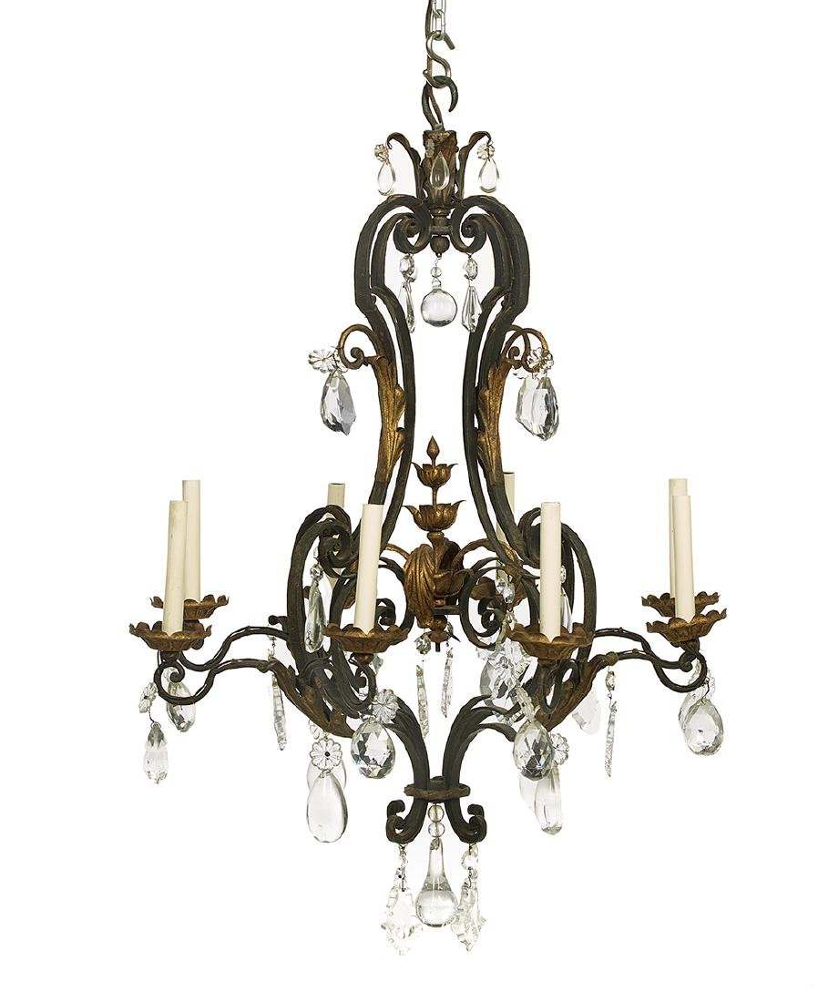 Italian-Style Gilt-Metal and Crystal Chandelier