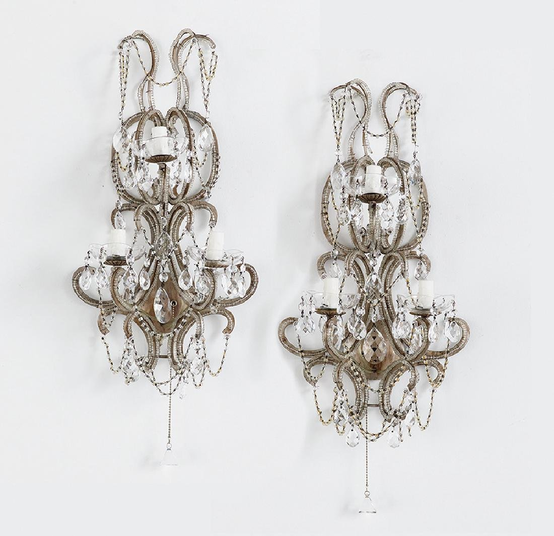 Pair of Continental Three-Light Sconces