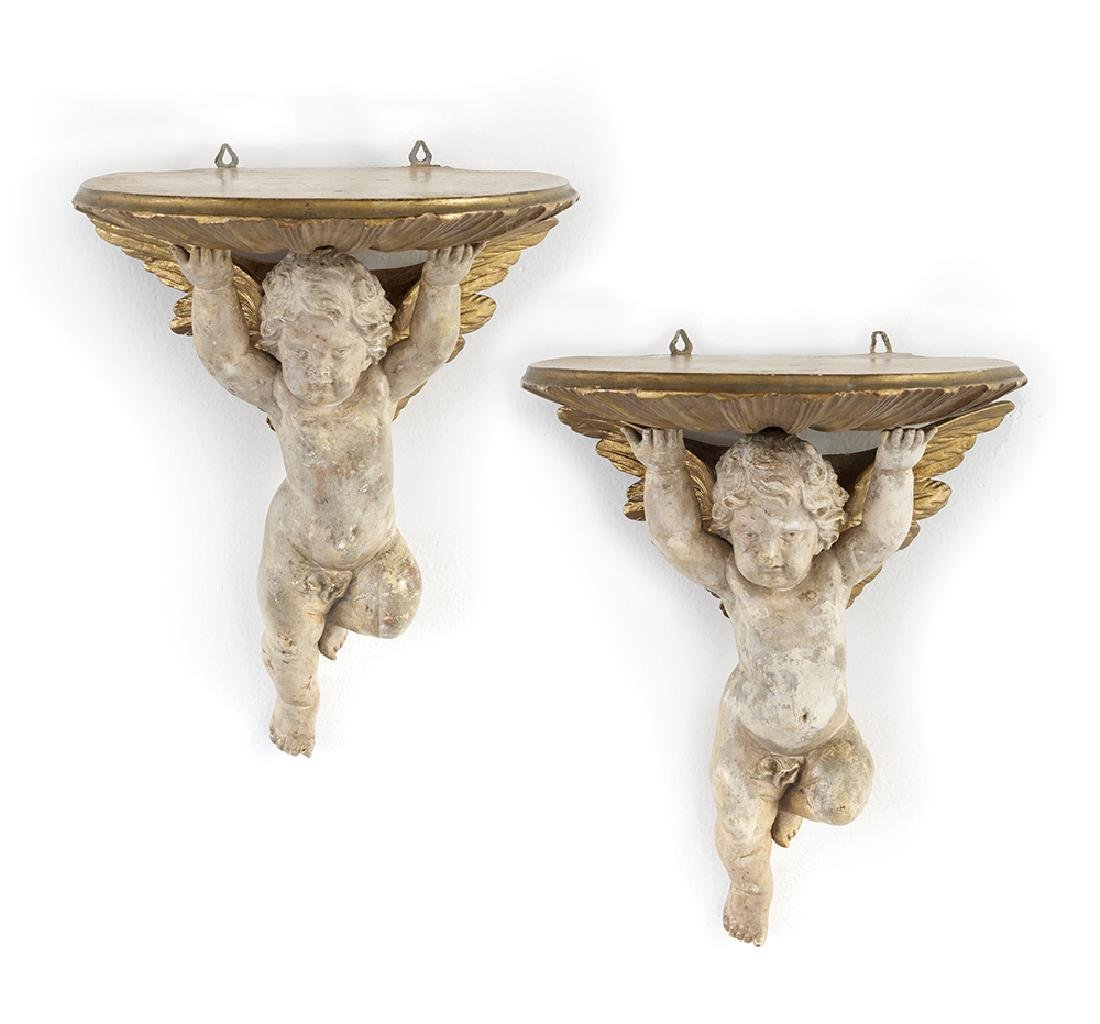 Pair of Parcel-Gilt and Molded Plaster Brackets