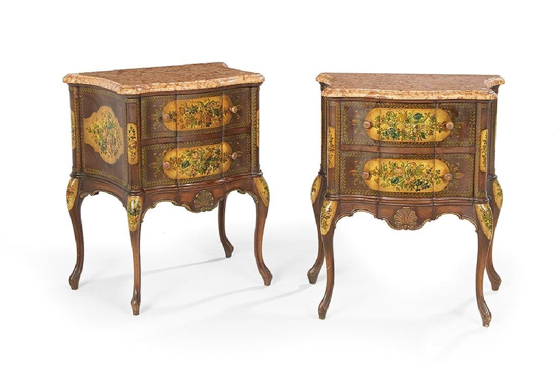 Pair of Italian Marble-Top Commodes