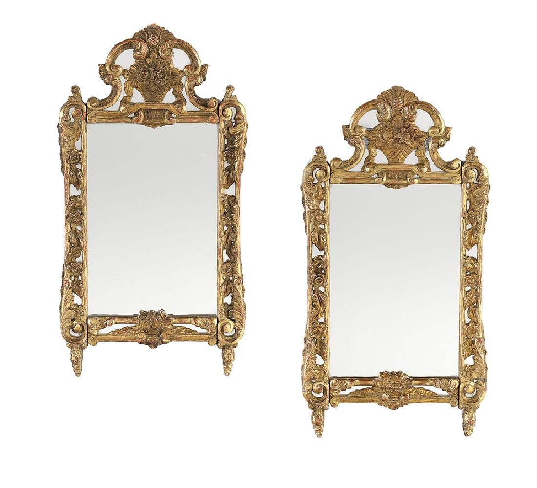 Pair of Italian Baroque-Style Giltwood Mirrors