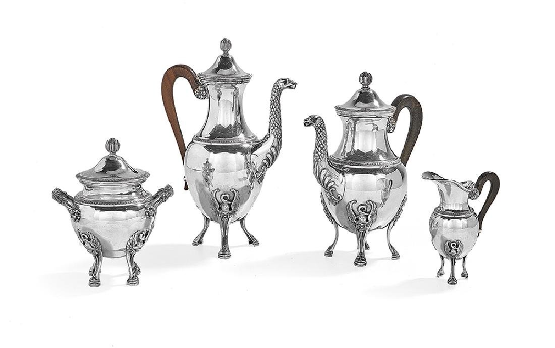 Four-Piece French Silver Coffee and Tea Set