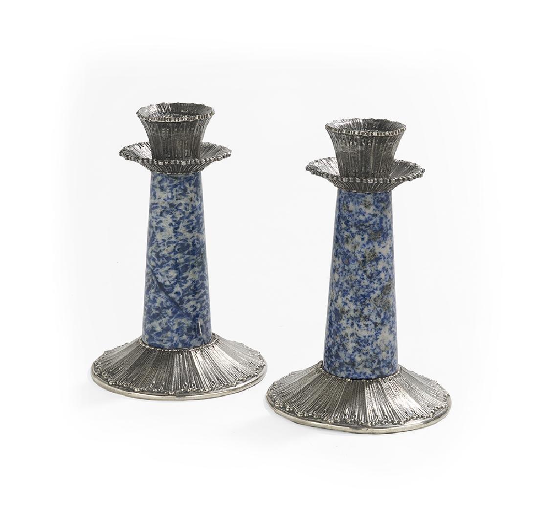 Pair of Buccellati Silver & Sodalite Candlesticks