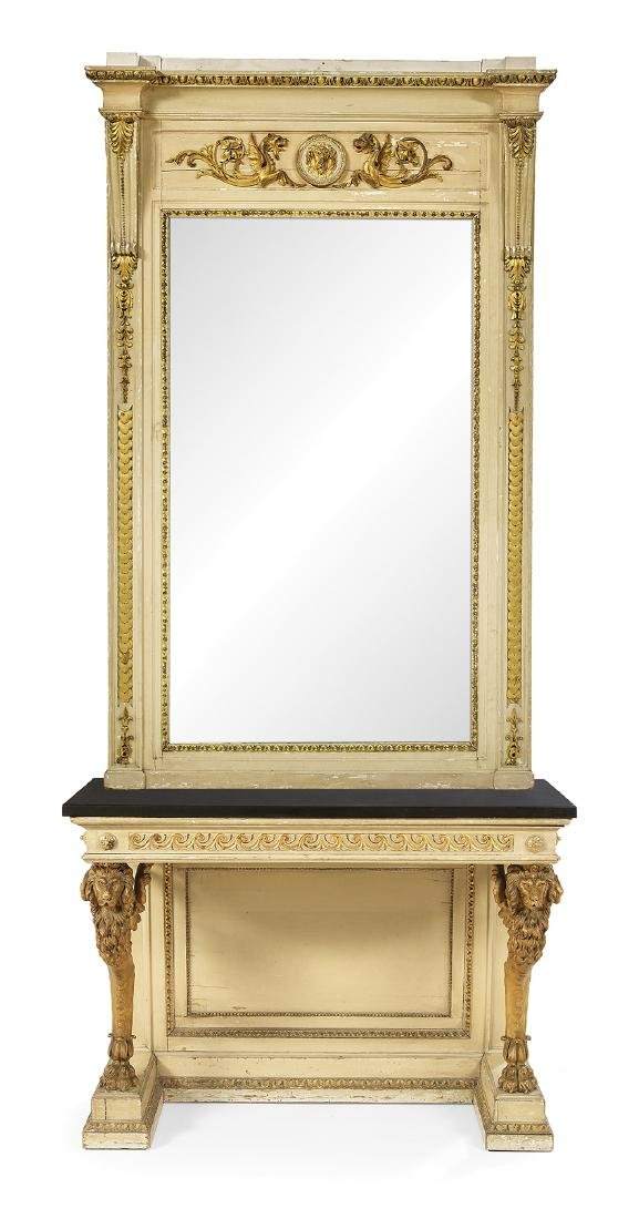 Regency-Style Parcel-Gilt Side Table and Mirror