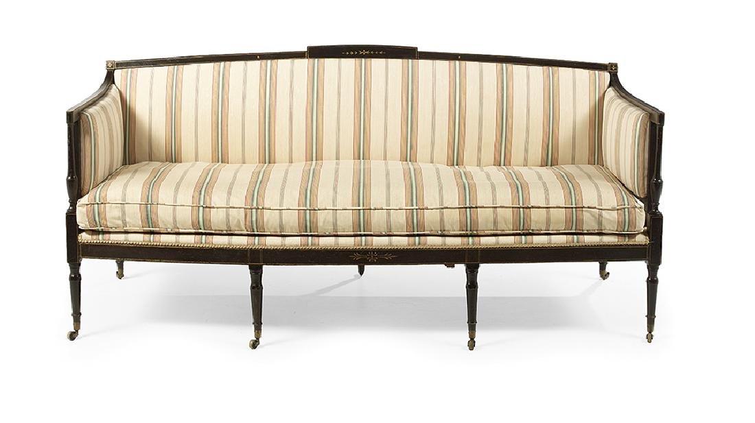 Regency-Style Ebonized Sofa