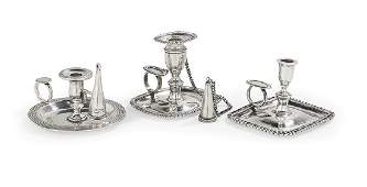 Three English and Other Silver Tapersticks