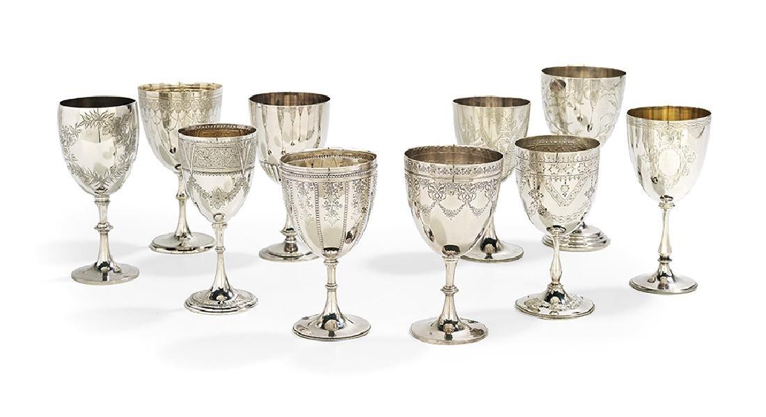 Ten Victorian Silverplate Goblets