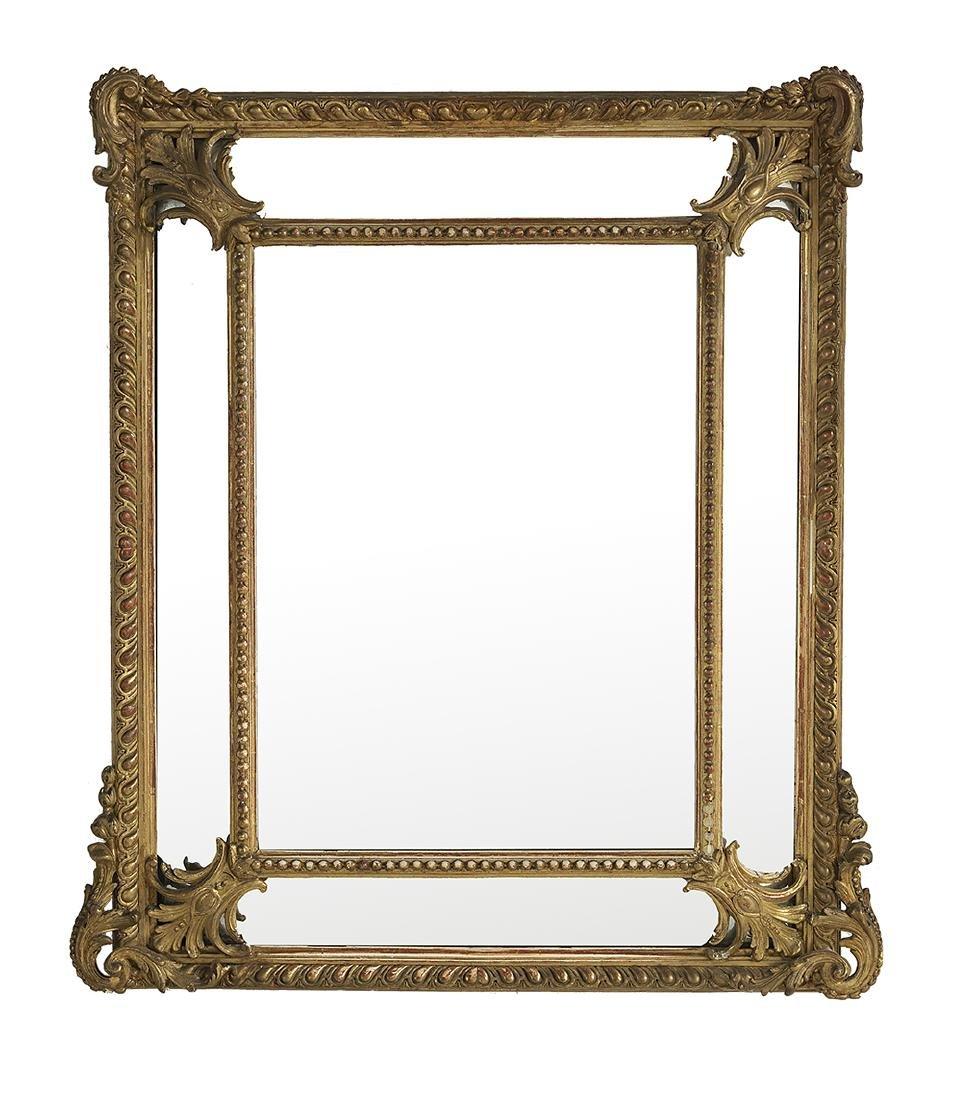 French Giltwood Cushion Mirror