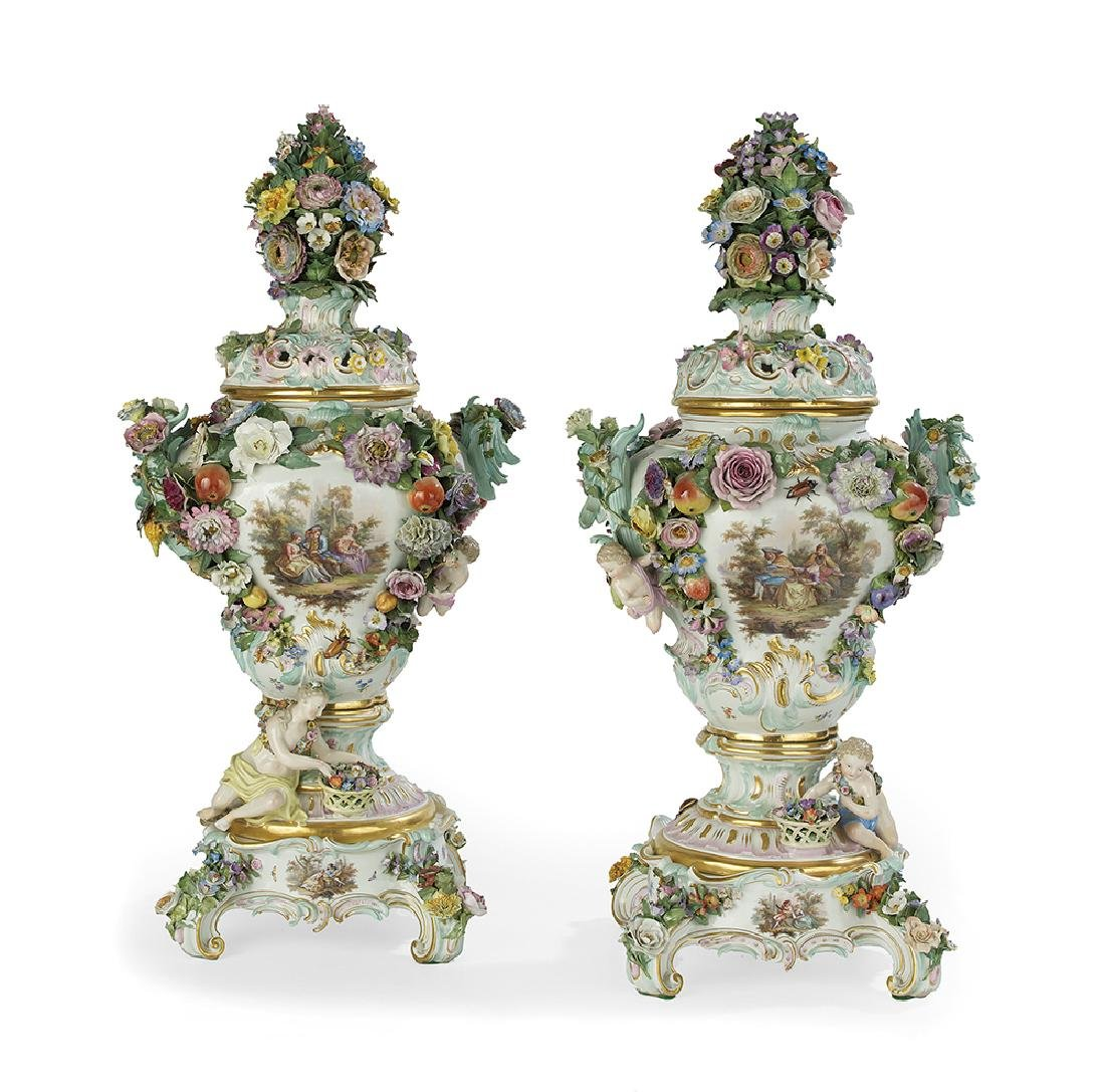 Monumental Pair of Meissen Potpourri Urns