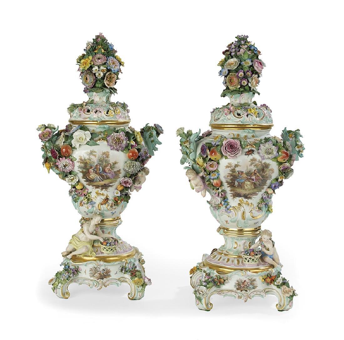 Monumental Pair of Meissen Potpourri Urns