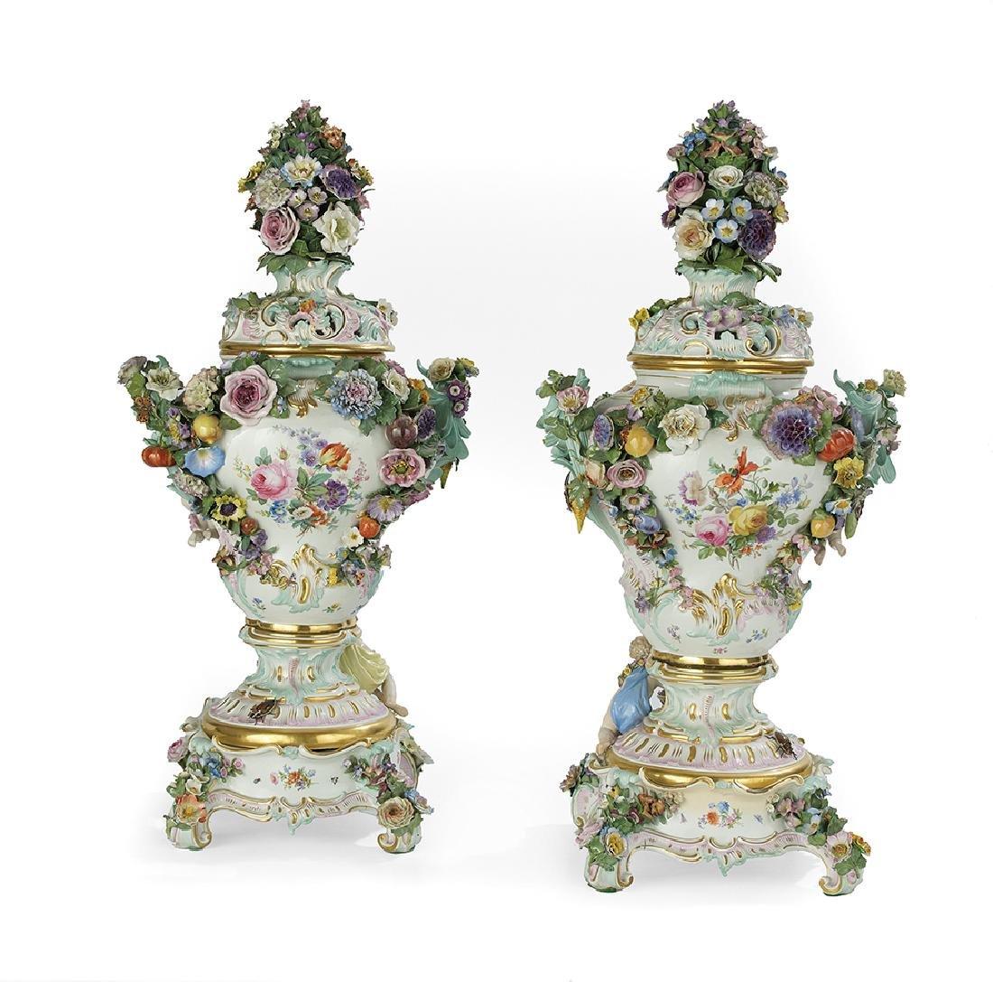 Monumental Pair of Meissen Potpourri Urns - 2
