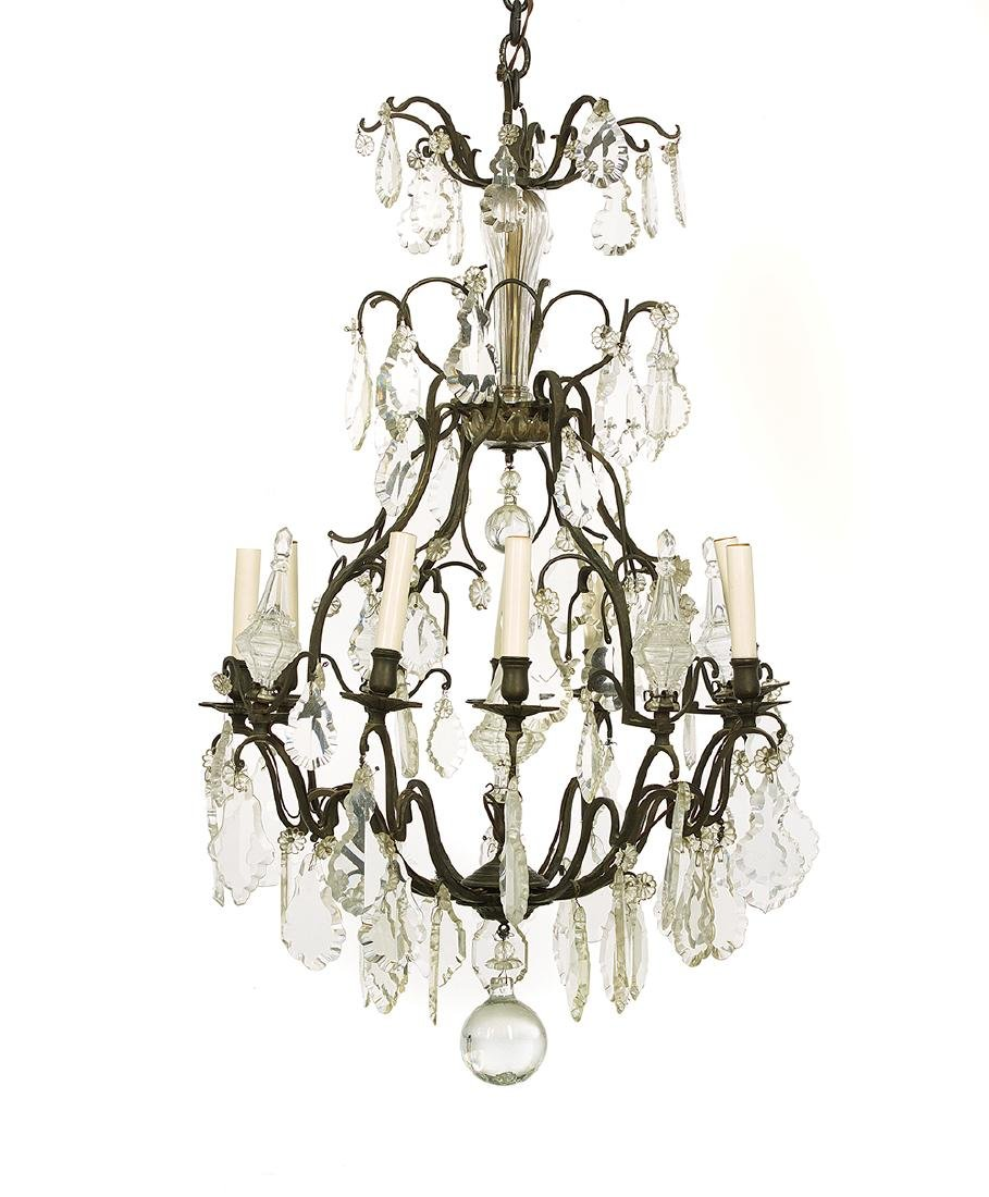 Louis XV-Style Metal and Crystal Chandelier