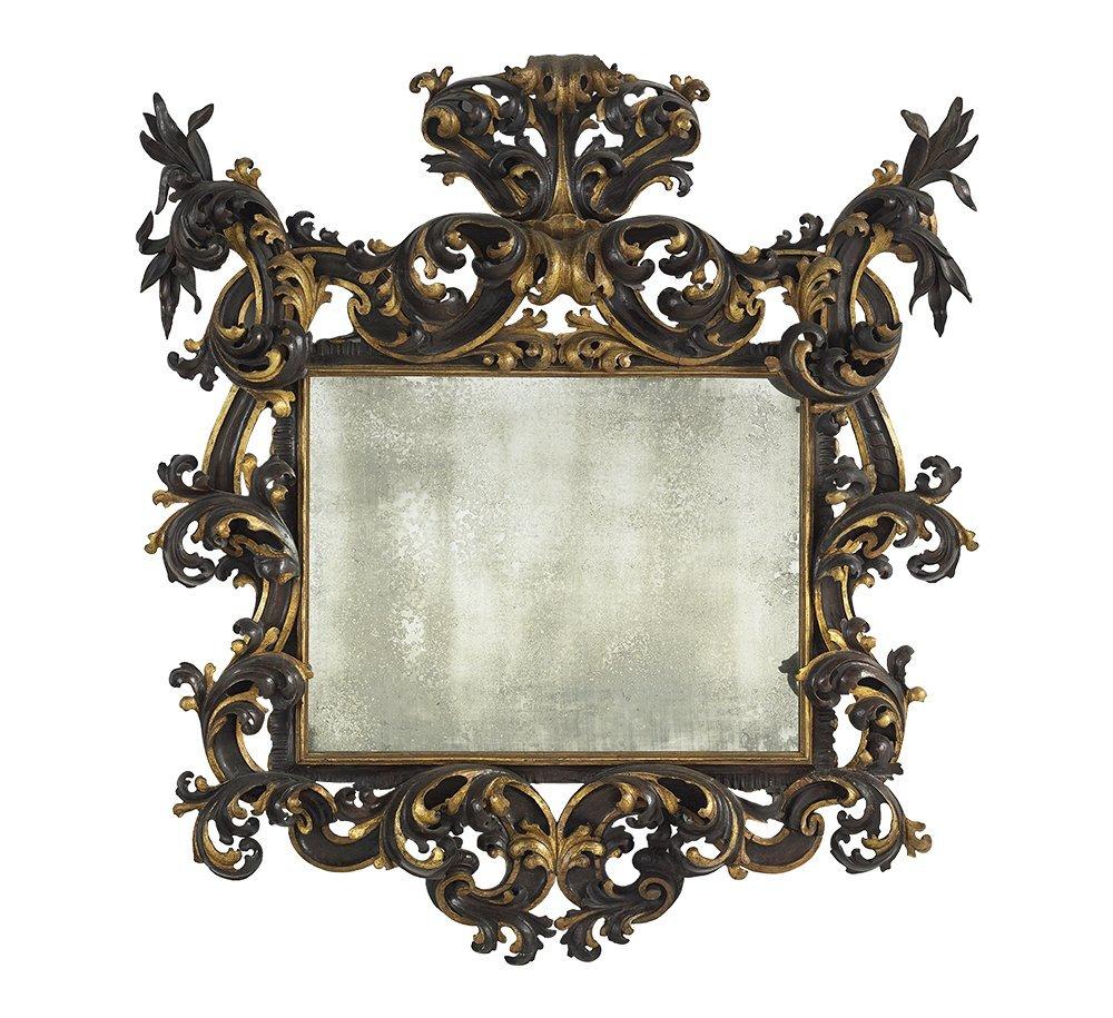 Northern Italian Parcel-Gilt and Ebonized Mirror