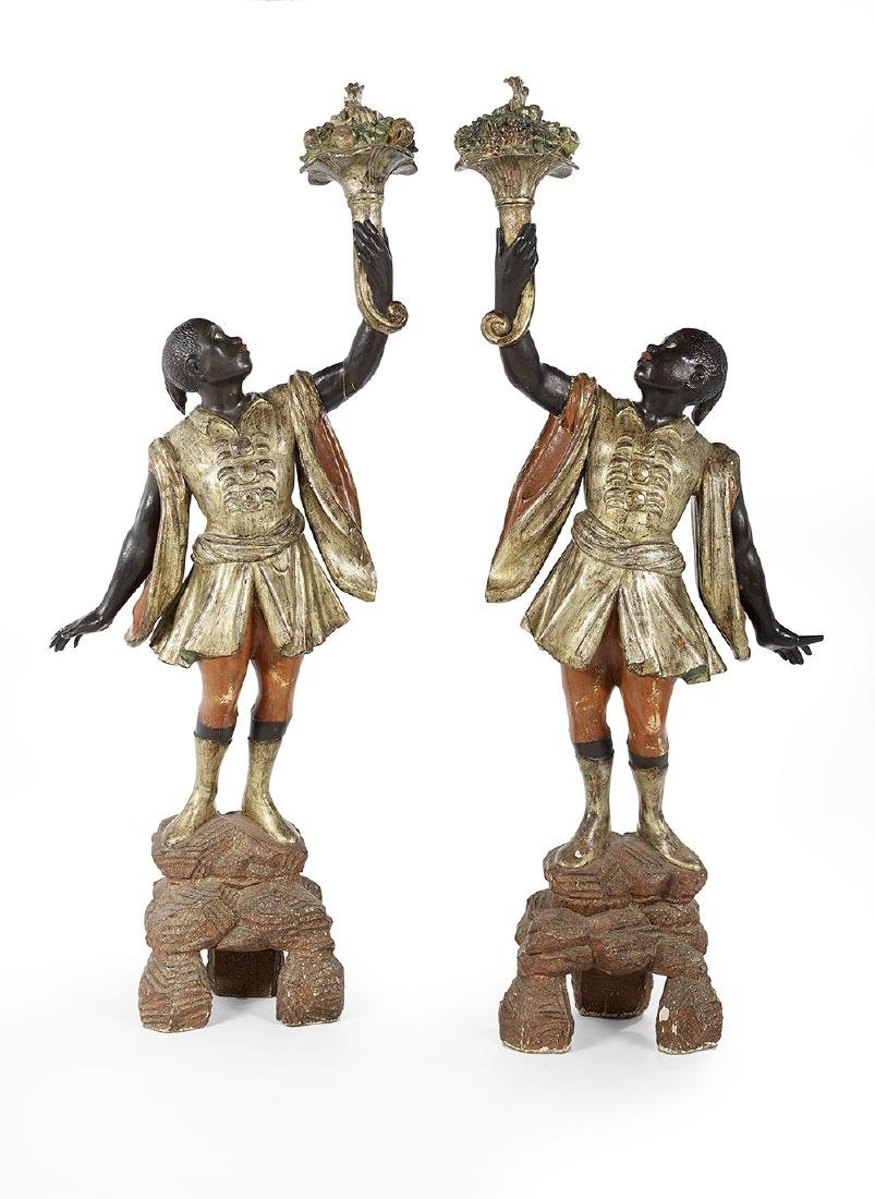 Pair of Venetian Polychrome Blackamoor Figures