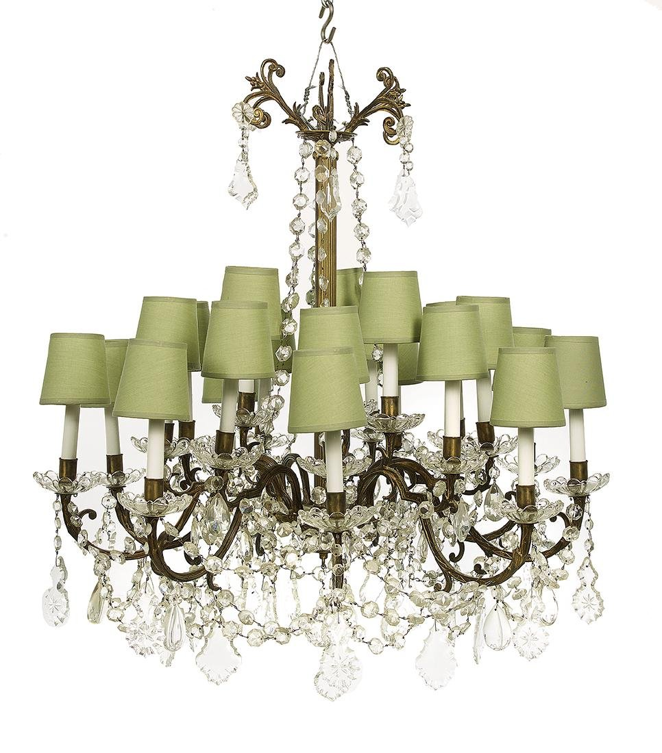Gilt-Brass and Prism-Hung Chandelier