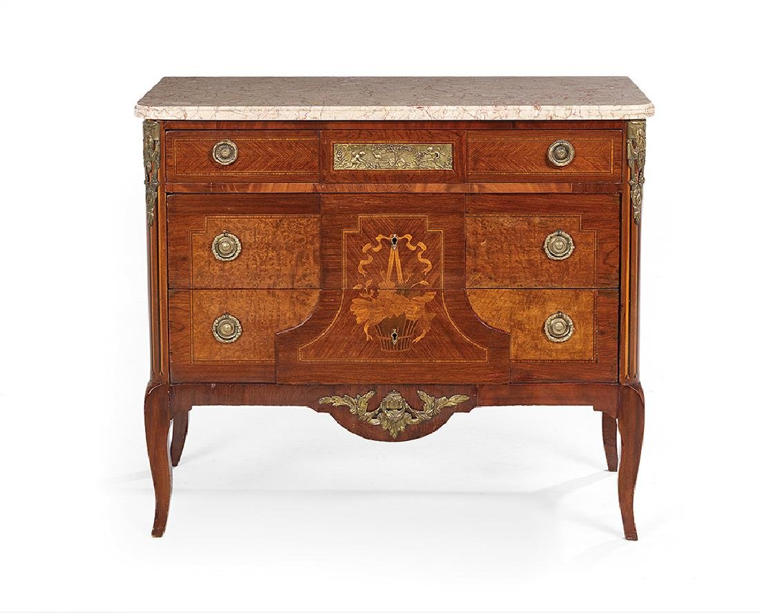 Kingwood and Marble-Top Commode