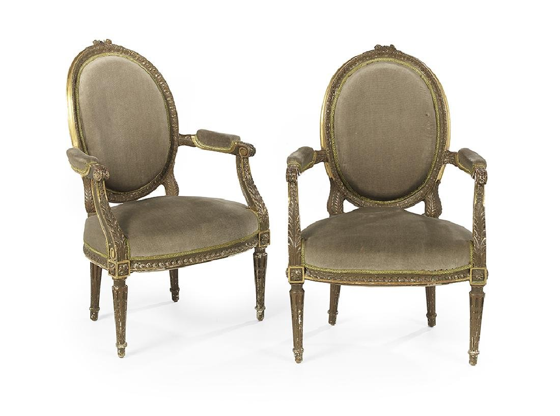 Pair of Louis XVI-Style Giltwood Fauteuils