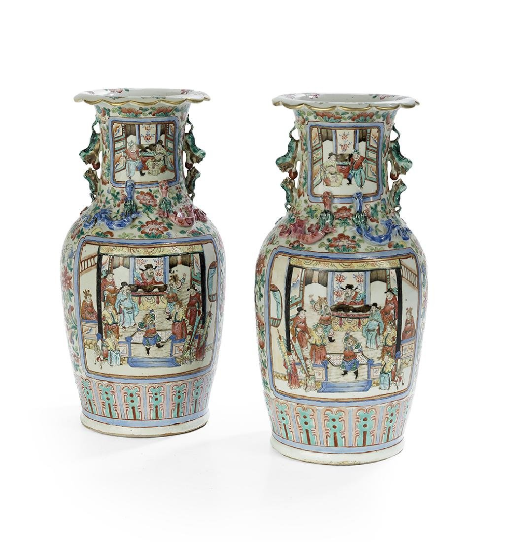 Pair of Chinese Export Rose Canton Vases