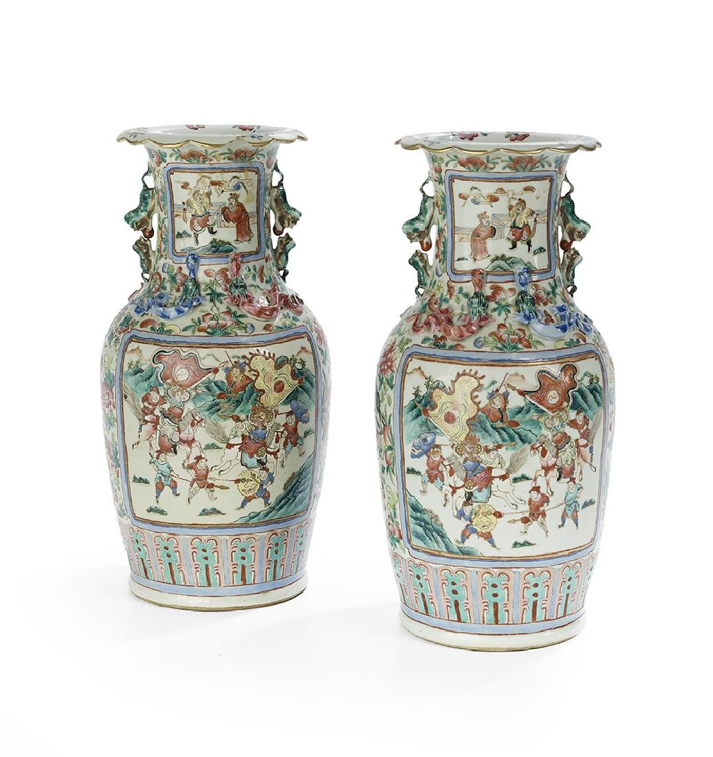 Pair of Chinese Export Rose Canton Vases - 2