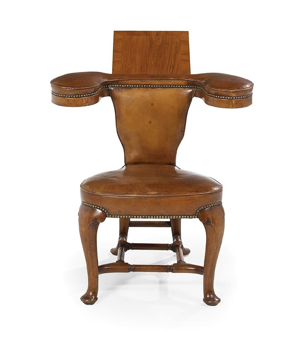 Victorian Leather-Upholstered Cock-Fighting Chair