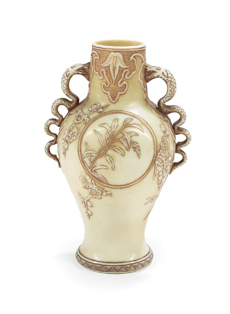 "Thomas Webb ""Old Ivory"" Cameo Glass Vase - 2"