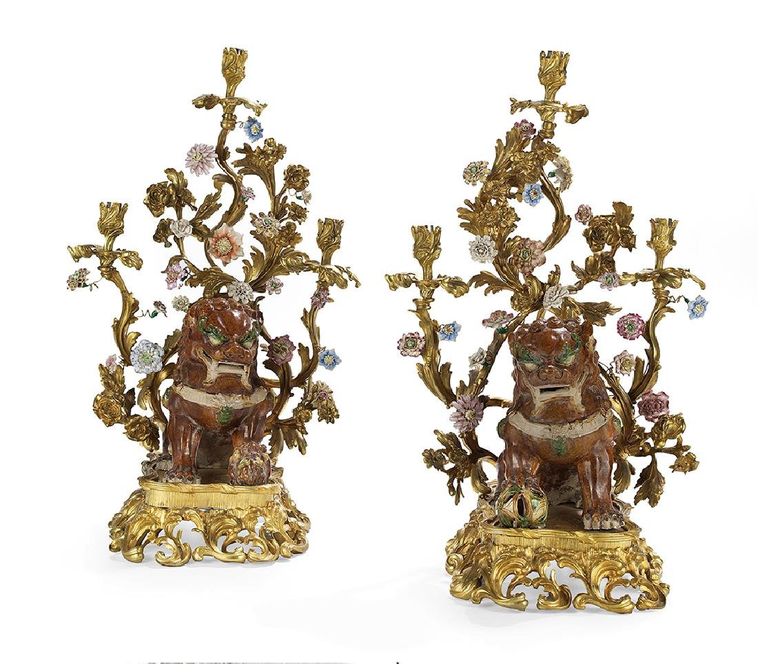 Pair of Impressive Franco-Chinese Candelabra