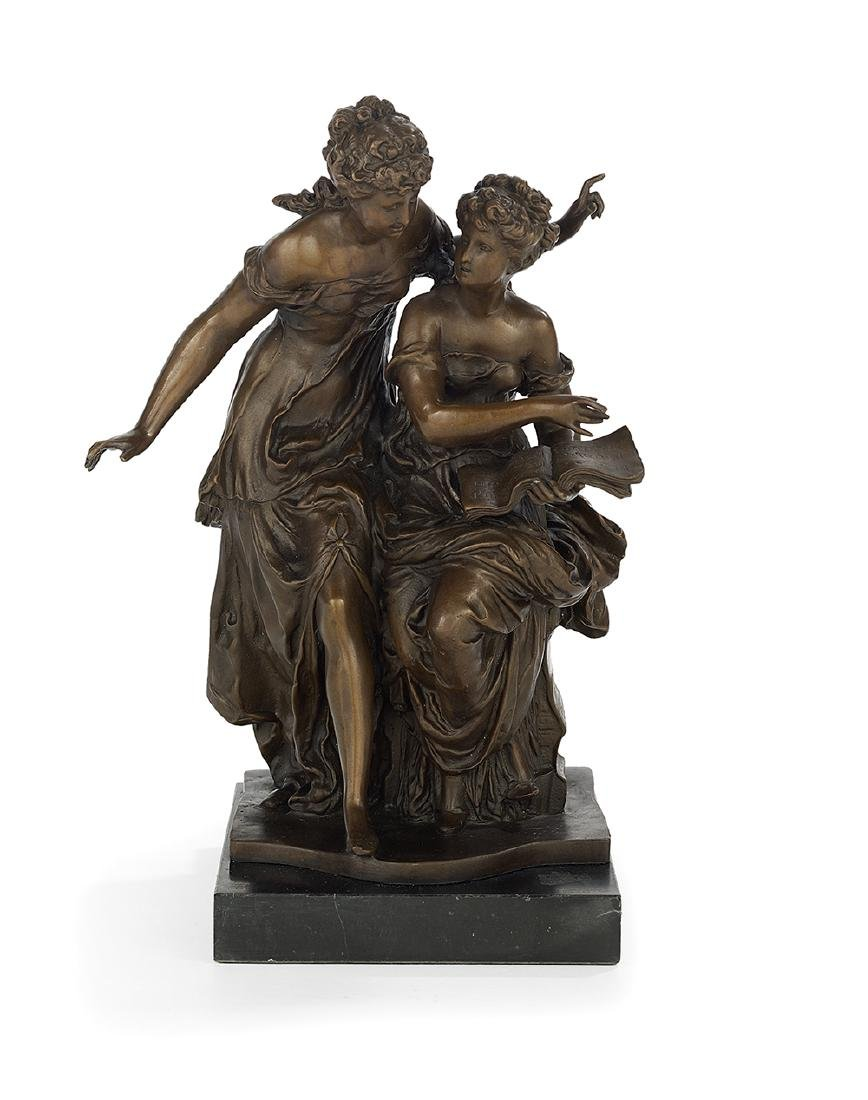 "French Patinated Bronze of ""Two Women Reading"""