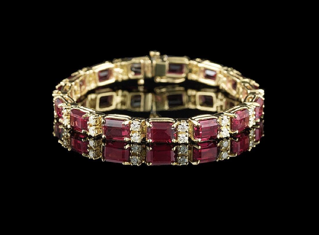 Rhodolite Garnet and Diamond Bracelet