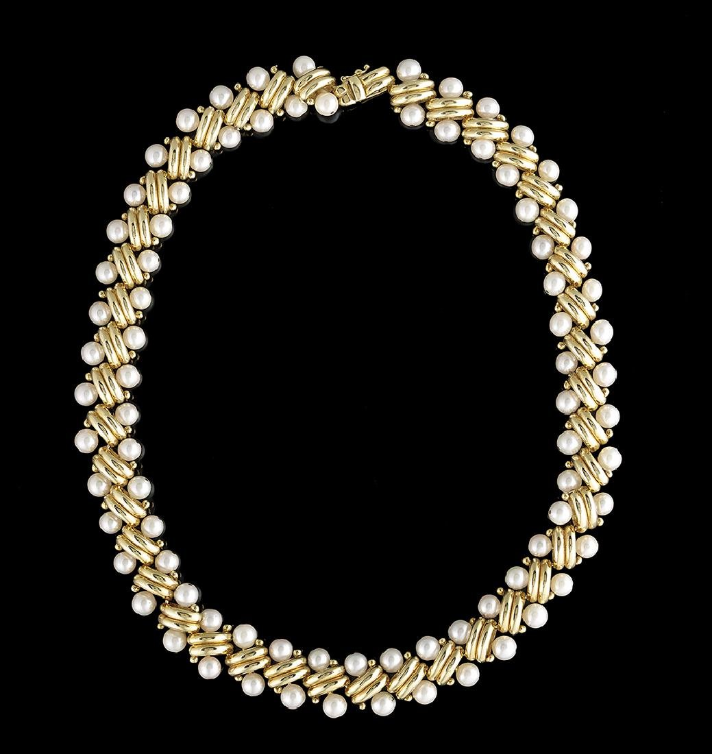 Custom-Made Italian Pearl and Gold Necklace