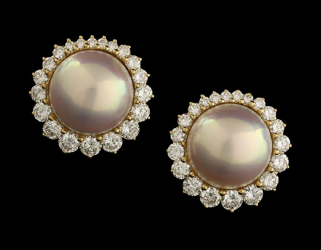 Beautiful Mabe Pearl and Diamond Earrings