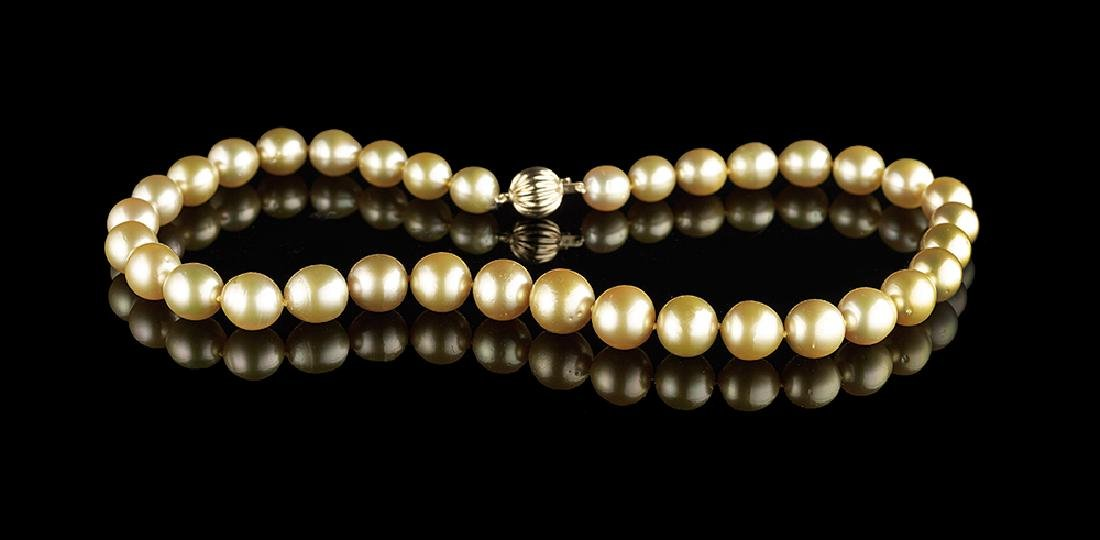 Strand of Golden South Sea Cultured Pearls