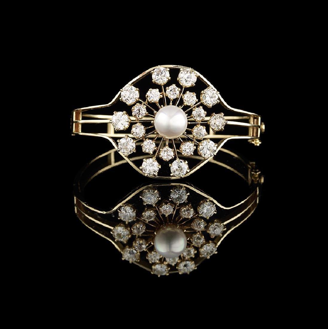Custom-Made Diamond and Pearl Bangle Bracelet