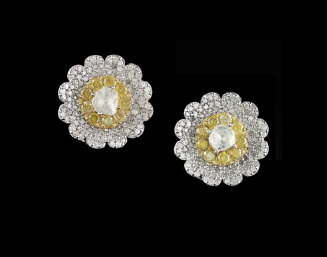 White and Yellow Diamond Earrings
