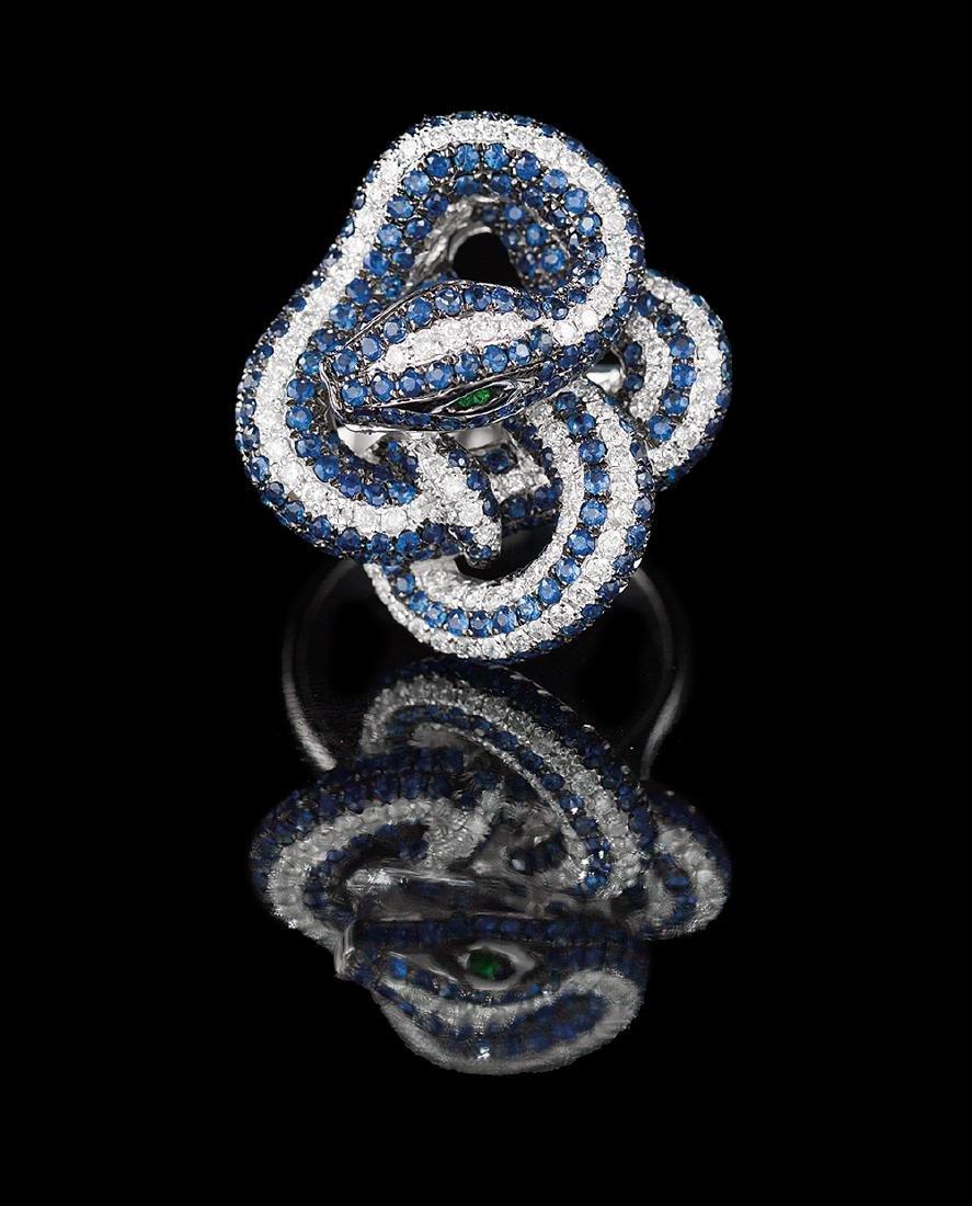 Unusual Sapphire and Diamond Snake Ring