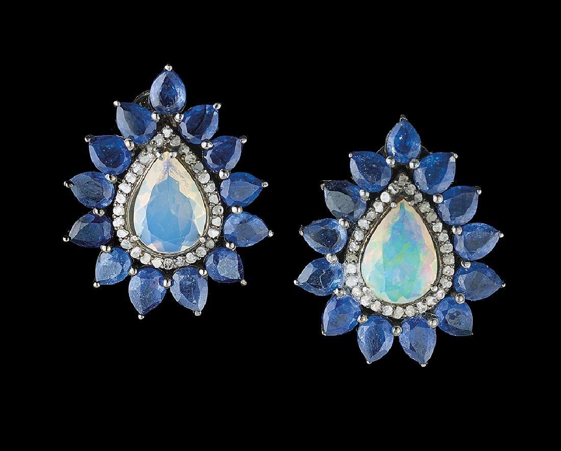 Opal, Sapphire and Diamond Earrings