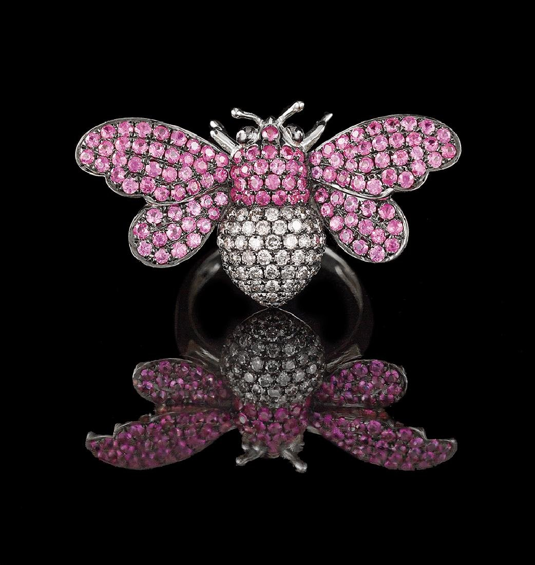 Ruby and Diamond Bee Ring