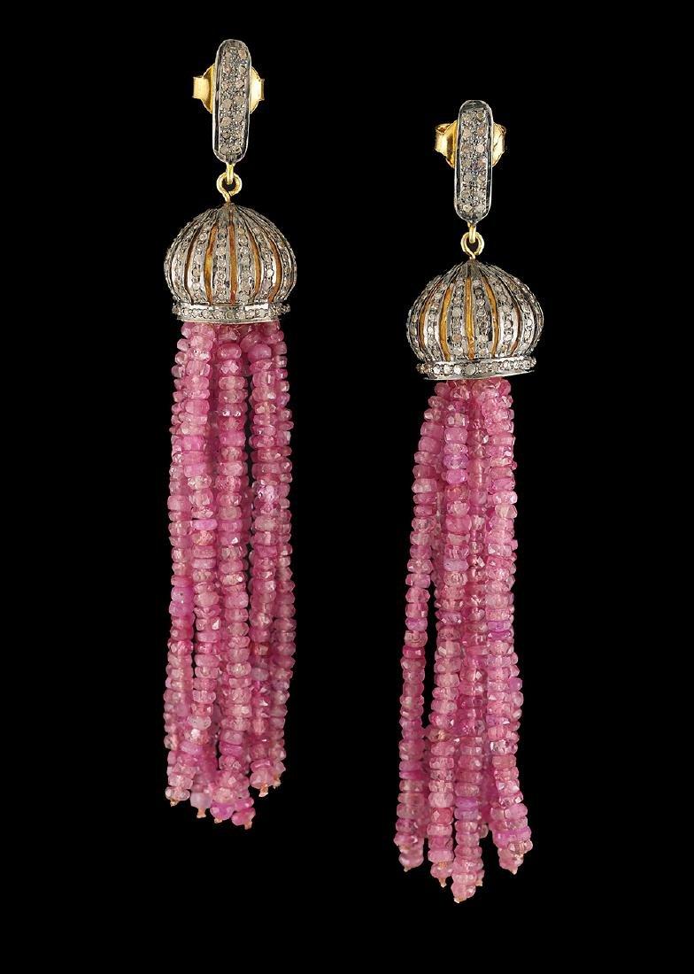 Ruby and Diamond Tassel Earrings