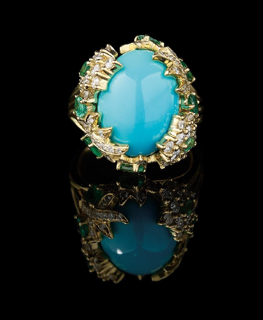 Turquoise, Diamond and Emerald Ring