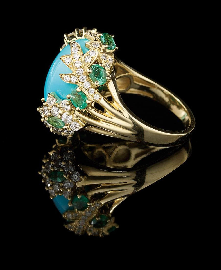 Turquoise, Diamond and Emerald Ring - 2